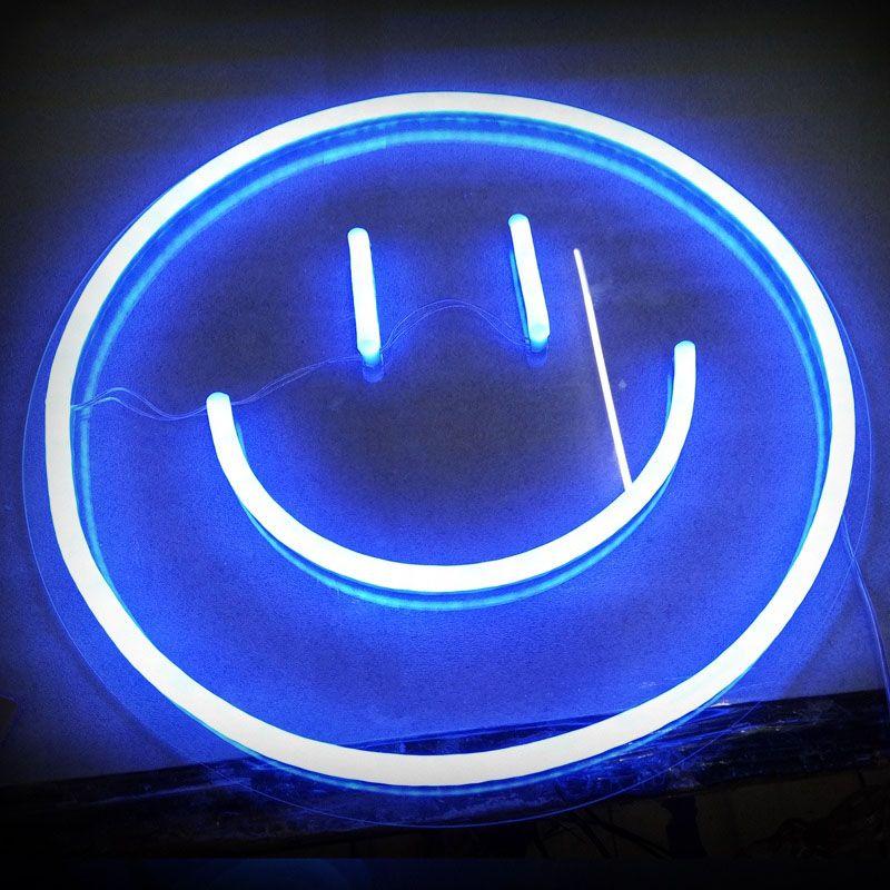 Smile Neon Sign Dark Blue Wallpaper Blue Wallpaper Iphone Neon Wallpaper Cool blue neon wallpaper