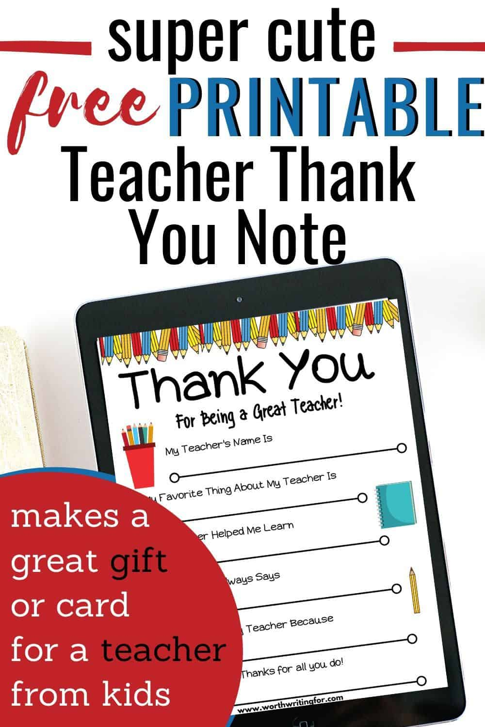 Free Printable Teacher Thank You Note Perfect For Teacher Appreciation Teacher Thank You Notes Teacher Thank You Teacher Printable