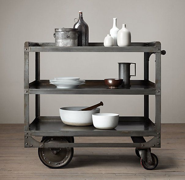 industrial furniture hardware. Industrial Steel Bar Cart I Restoration Hardware A Vintage Factory Dating From The Was Model For This Rolling Bar, Crafted Of With Exposed Furniture L