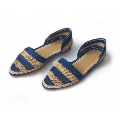 Stripped Blue Raffia Shoes