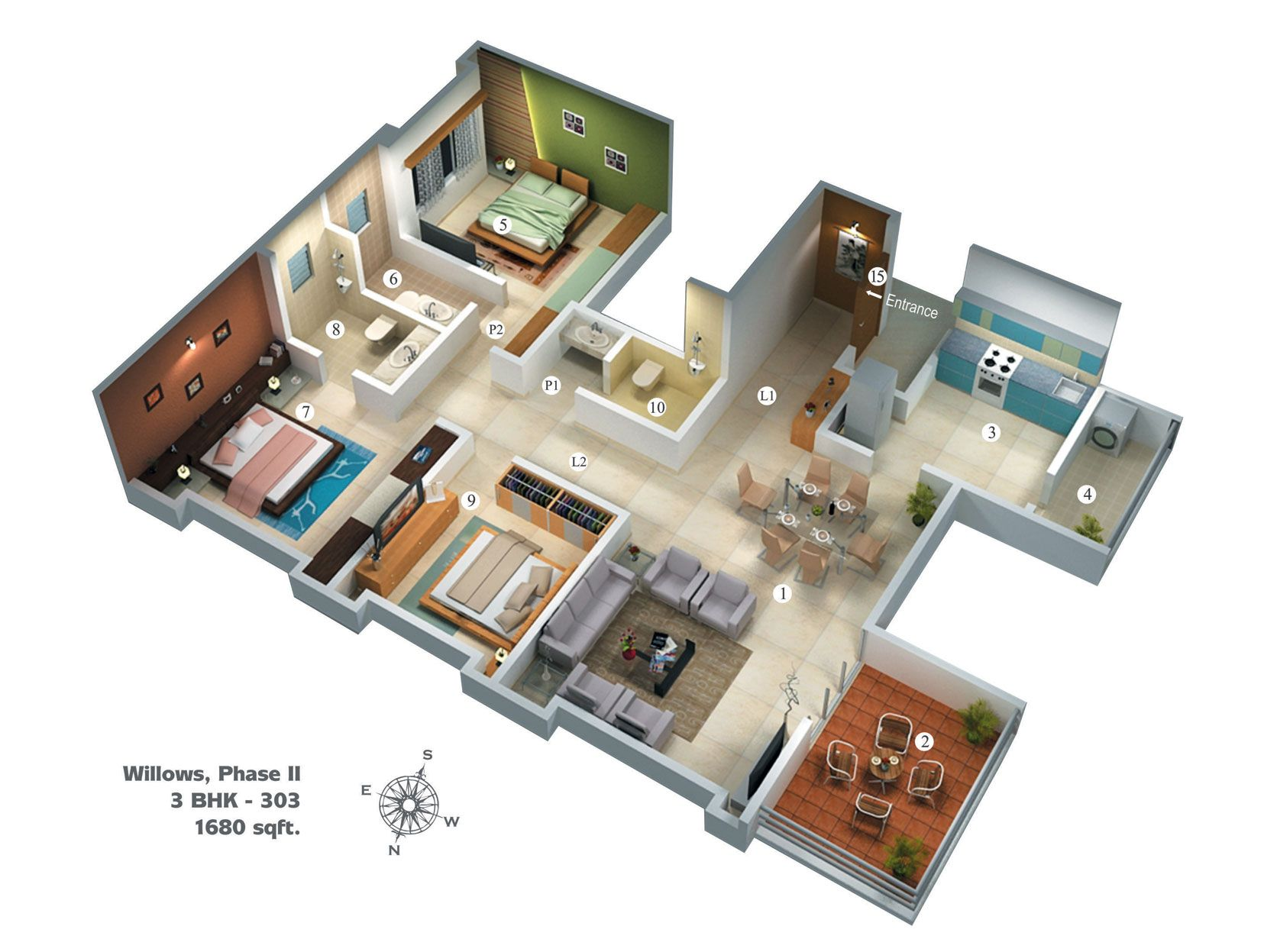 Floor plan 1680 phase ii 1 672 1 247 pixels for Apartment blueprint maker