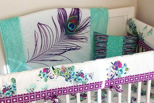 Purple teal aqua and mint green baby bedding set. Exotic ...