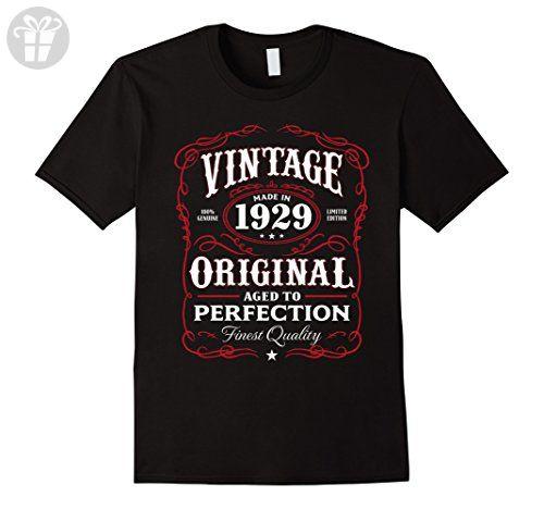 Mens Vintage Made In 1929 Birthday Gift T-Shirt Medium Black - Birthday shirts (*Amazon Partner-Link)