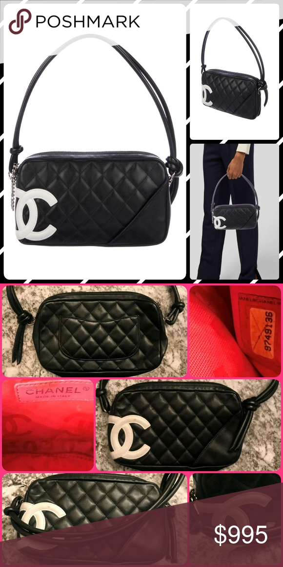 bbfa77bb38a2 Authentic CHANEL Ligne Cambon Pochette Black and white quilted leather  Chanel Ligne Cambon Pochette with silver