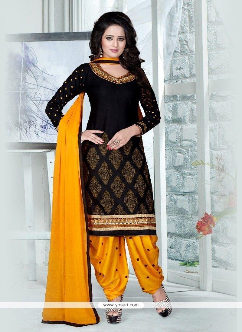 55c9151954 Topnotch Black Resham Work Punjabi Suit in 2019 | YOSARI | Salwar ...