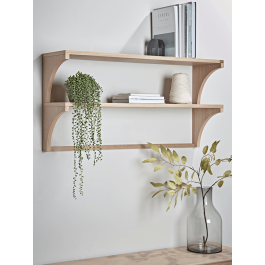 Oak Two Tier Shelf Shelves Wall Mounted Storage Shelves Bamboo Shelf
