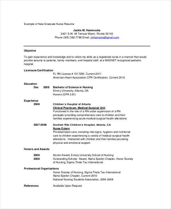 Graduate Nurse Resume In PDF , 12+ Nursing Resume Template , When
