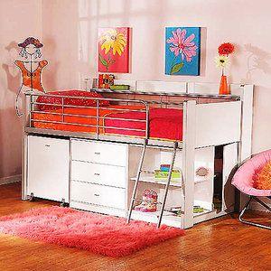 Charleston Storage Loft Bed With Desk White Walmart Com Loft Bed Kids Bedroom Furniture Girls Twin Loft Bed