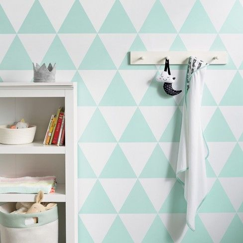 Peel & Stick Wallpaper Large Triangles Mint Green Cloud