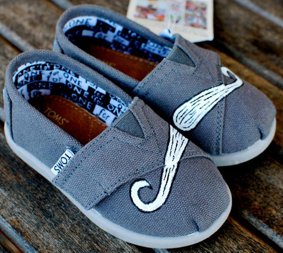 Ash Grey TINY Mustache TOMS by BStreetShoes on Etsy, $69.00
