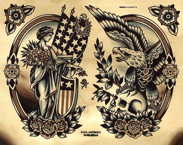 Liberty tattoo flash eagle tattoo flash spider murphys