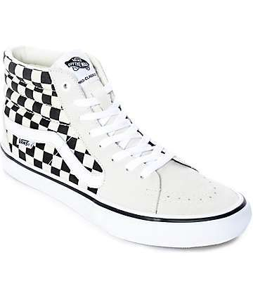 d4c532c68e90 Vans Sk8-Hi Pro White   Black Checkered Skate Shoes