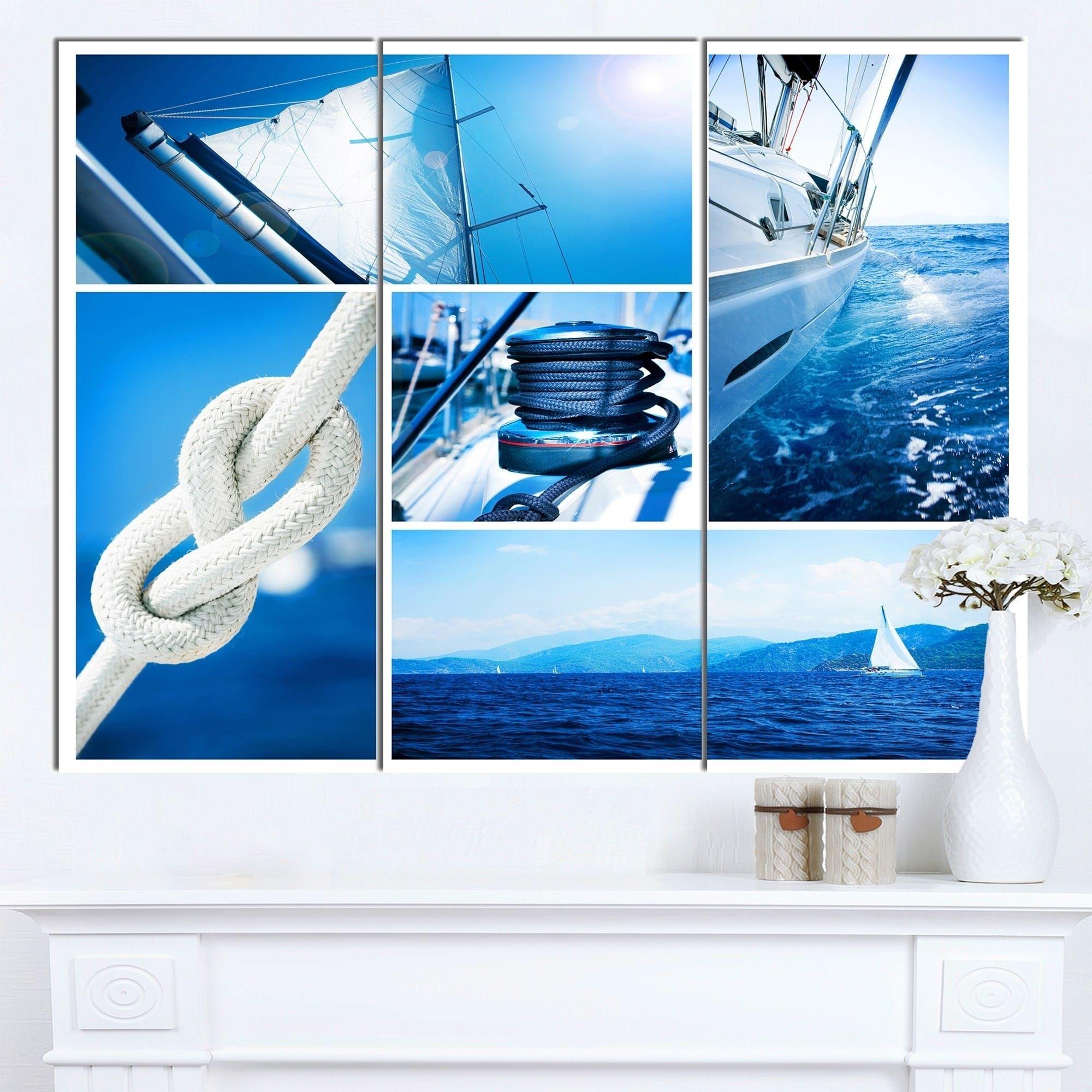 Designart usailing yacht in sea collageu seashore canvas wall art