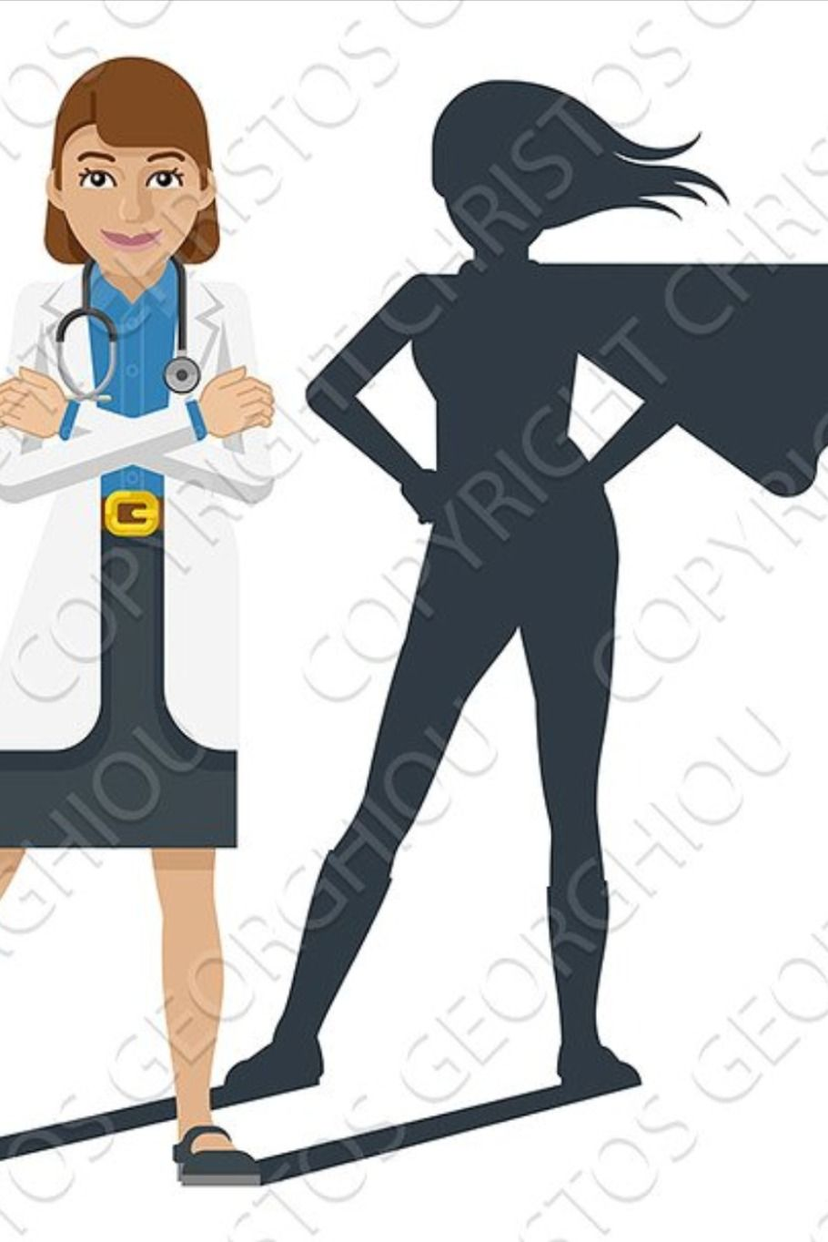 Young Medical Doctor Super Hero In 2020 Doctor Medical Women Medical Shadow Silhouette