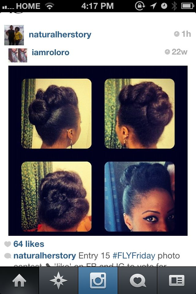 Elegant updo that can be achieved on natural hair. Natural wedding hairstyle
