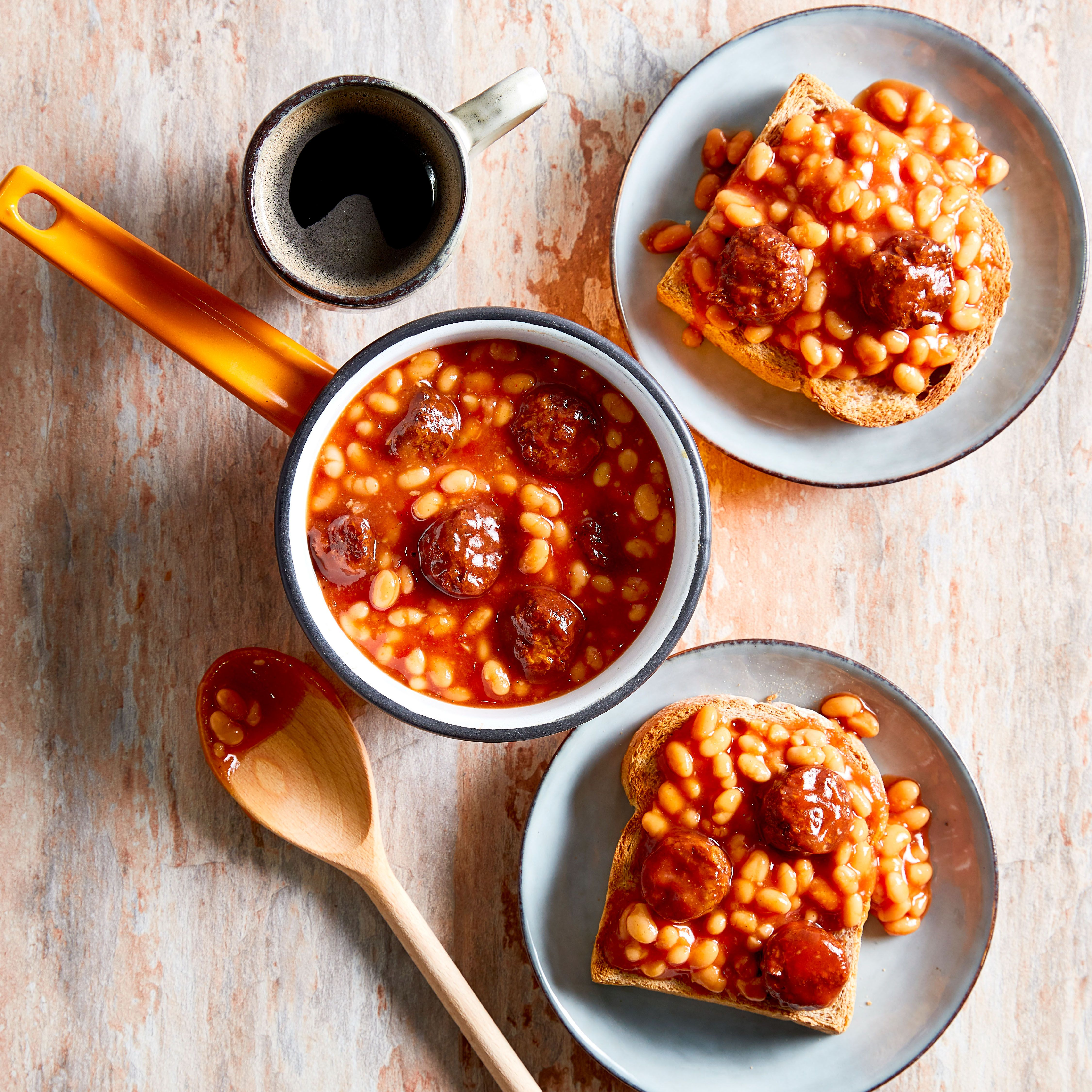 Baked Beans In A Rich Tomato Sauce With Vbites Mini Vegan Burgers