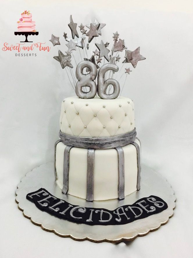 White And Silver Birthday Cake Sweet And Fun Desserts Pinterest