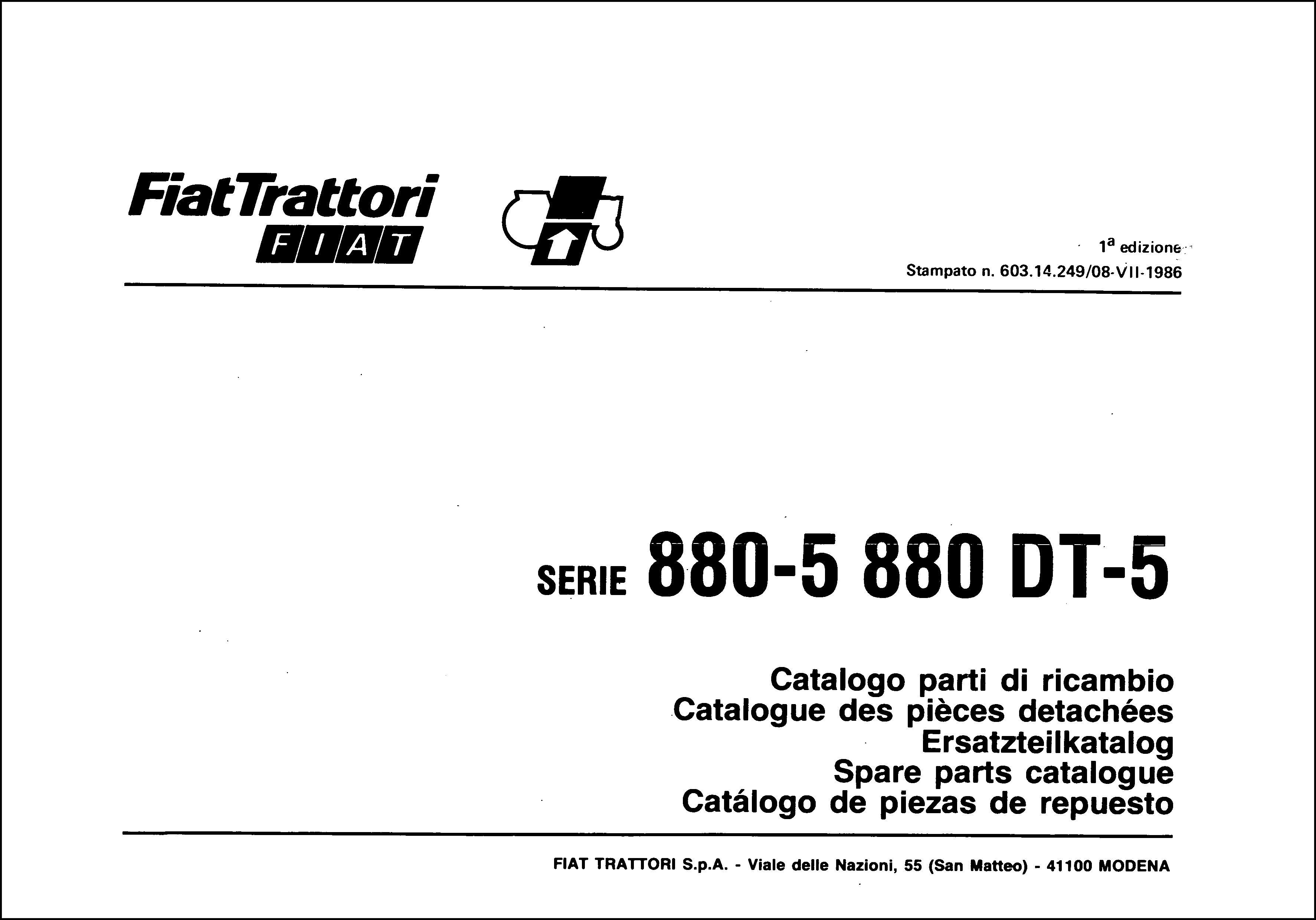 Fiat 880-5 880DT-5 Service Parts Catalog Download