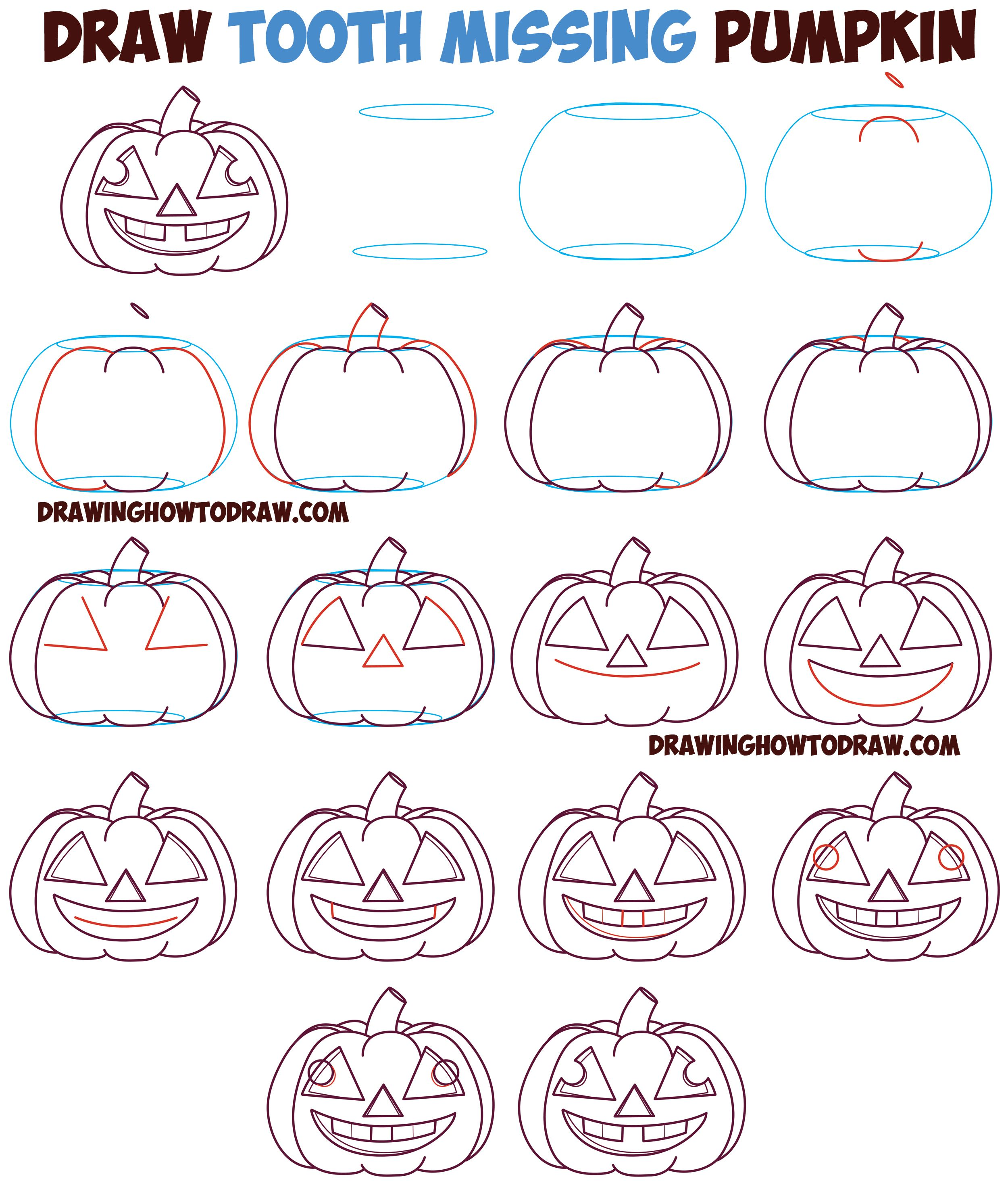 Huge Guide To Drawing Cartoon Pumpkin Faces Jack O Lantern Faces Expressions Emotions Easy Step By Step Drawing Tutorial For Kids On Halloween How To Dr Drawing Tutorials