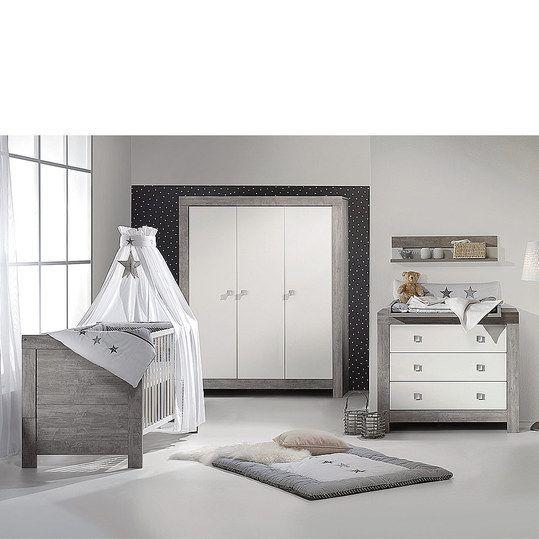 Unique Schardt Kinderzimmer Nordic Driftwood tlg mit t rigem Schrank inkl Textilkollektion Stern Grau