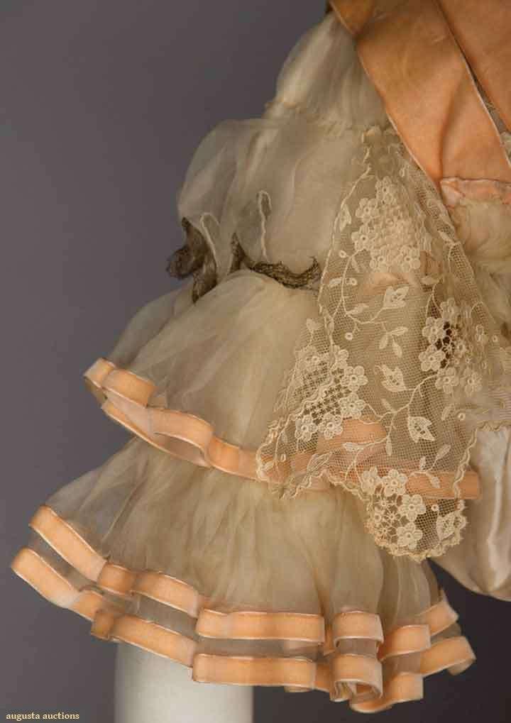 BELLE EPOQUE SILK BALLGOWN. 2-piece cream taffeta w/ satin dots & pale pink chine flowers, chiffon, pink ribbons & lace trim, attached cream taffeta petticoat. Detail
