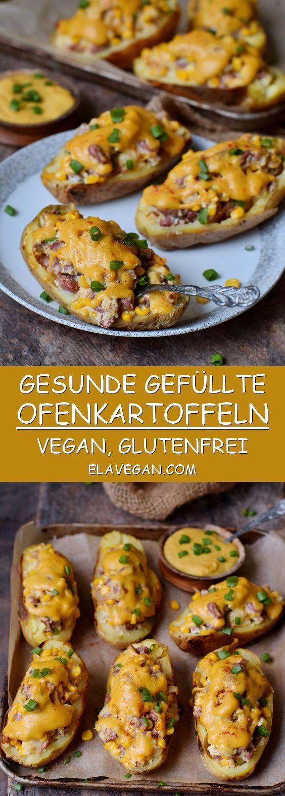 Gefüllte Ofenkartoffeln mit cremigem Gemüse und veganem Käse. Dieses köstliche ...   - vegan -