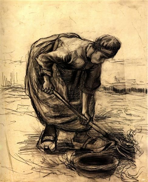 Peasant Woman, Stooping by Vincent Van Gogh - 1339 - Drawing