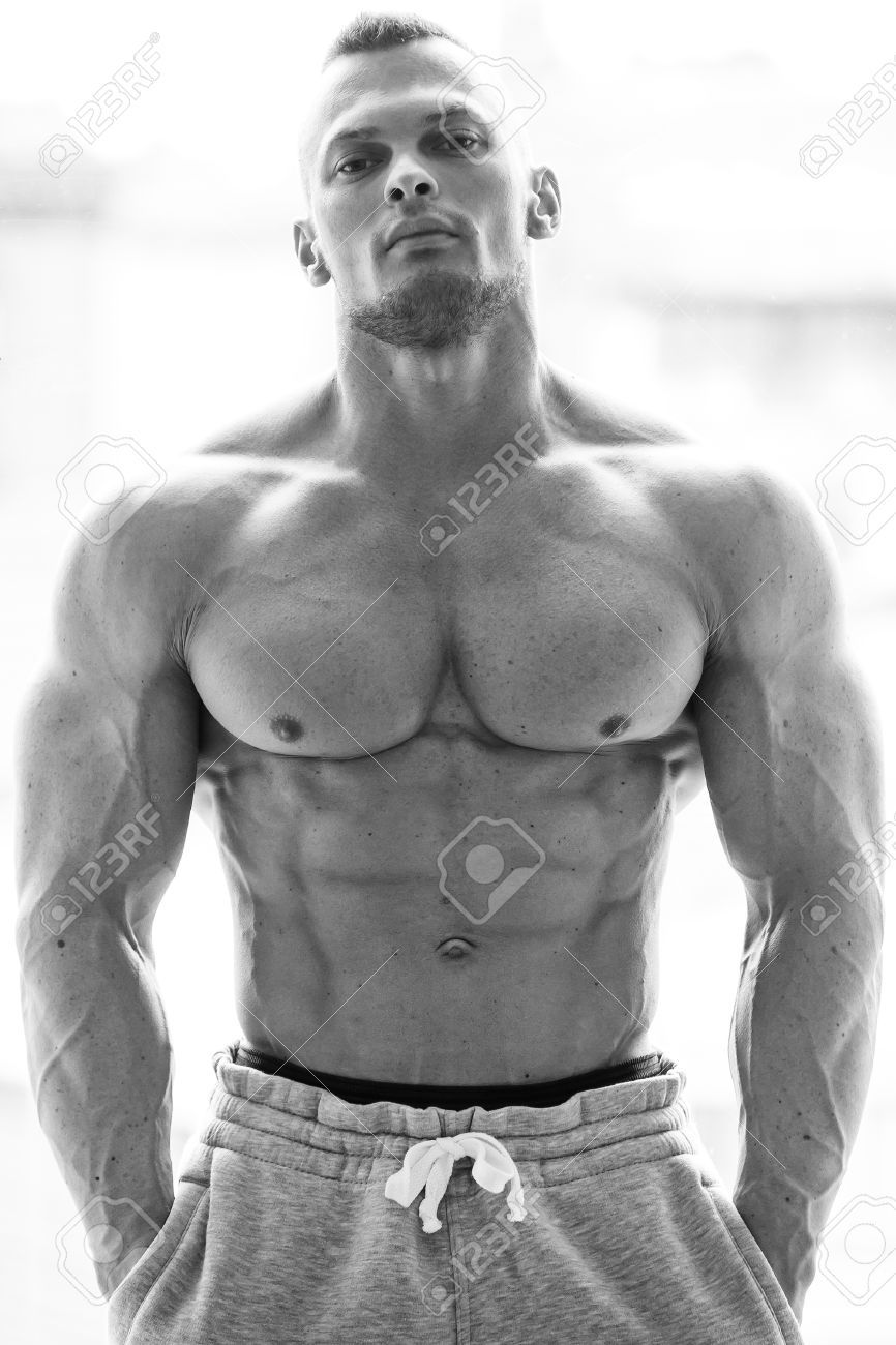 Fitness, bodybuilding Powerful man with perfect body Stock Photo , #AD, #Powerful, #man, #Fitness, #...