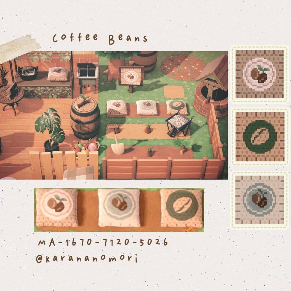Made Some Coffee Bean Bag Designs For My Coffee Addict Partner Couldn T Decide Which Design I L Animal Crossing Coffee Animal Crossing Game Animal Crossing Qr