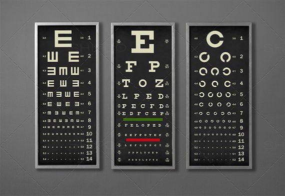 Eye Chart Print Triptych Typography Poster Snellen Vintage Etsy Eye Chart Typography Poster Eye Exam Chart