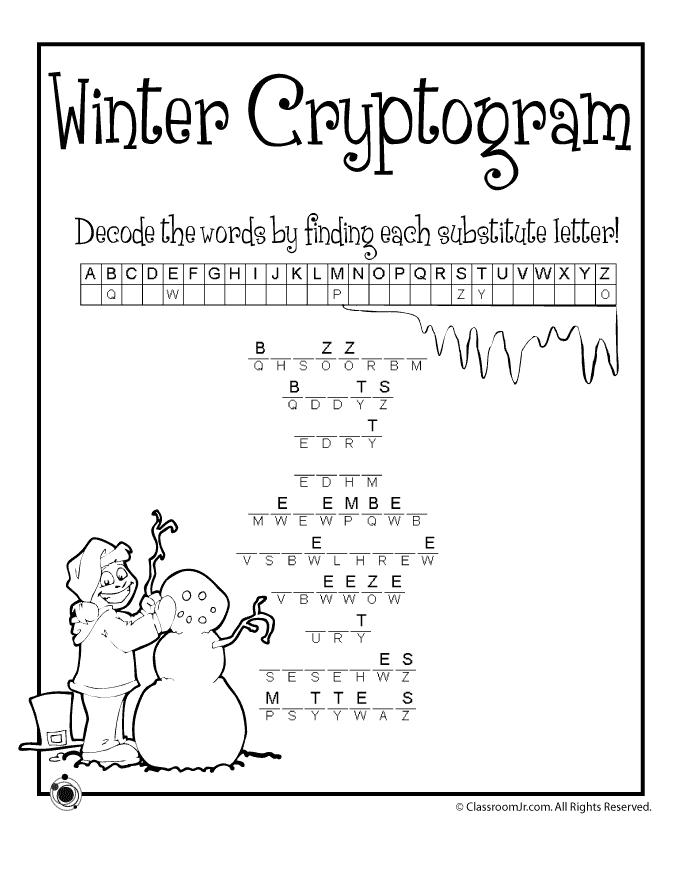 winter words secret code work stuff word puzzles for kids winter words puzzles for kids. Black Bedroom Furniture Sets. Home Design Ideas