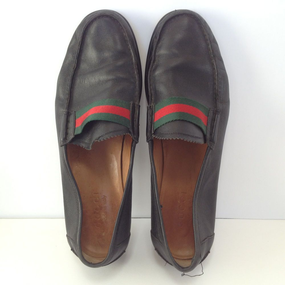 b992ac421 GUCCI SHOES MENS SIZE 9.5 BLACK LEATHER ITALY ITALIAN CLASSIC LOAFERS SHOES   Gucci  LoafersSlipOns