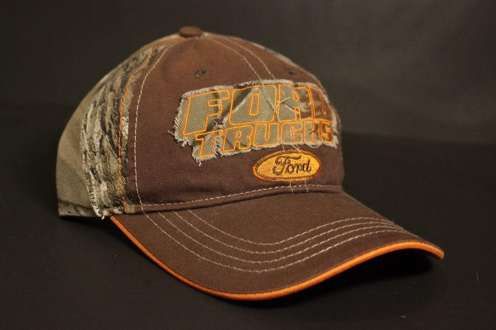 e2f9c70f1cb Ford Trucks Camo Hat Baseball Cap Blaze Orange Brown Adjustable Strapback  New  H3Headwear  BaseballCap
