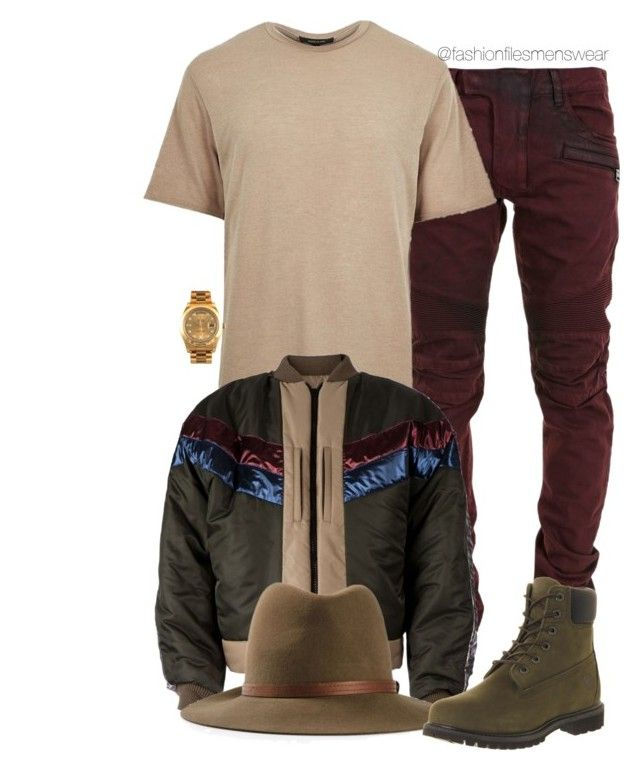 """""""Untitled #2099"""" by highfashionfiles ❤ liked on Polyvore featuring Balmain, River Island, Oscar de la Renta, rag & bone, Timberland and Rolex"""