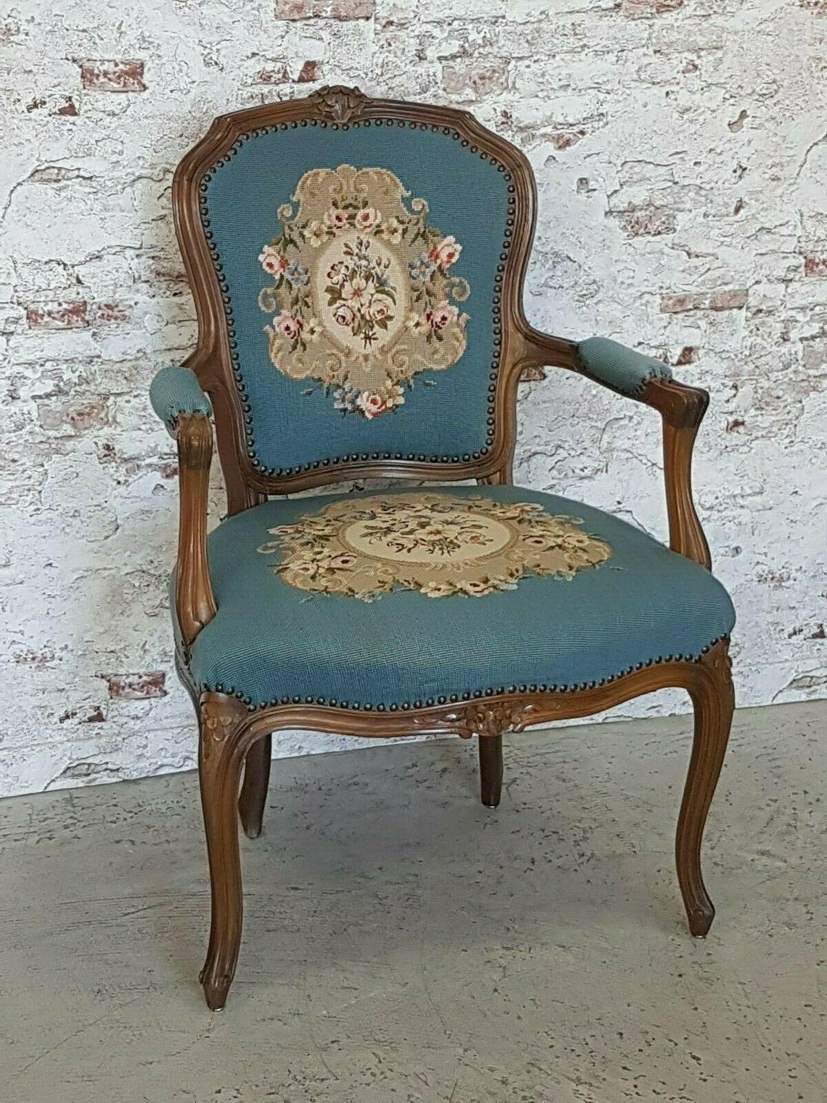 Antik Chippendale Sessel Gobelin Bezug Blau Landhaus Stuhl