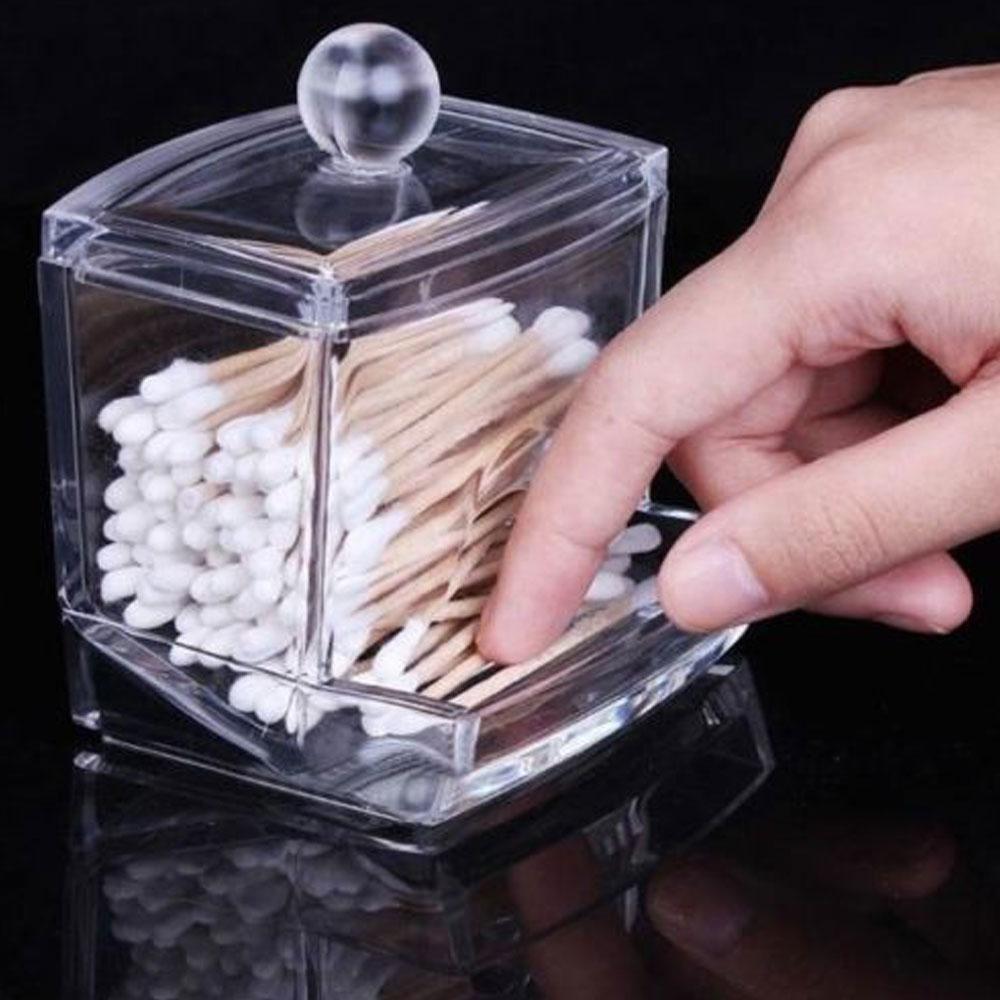Clear Acrylic Q-tip Makeup Storage Cotton Swab Organizer Box Cosmetic Holder  New