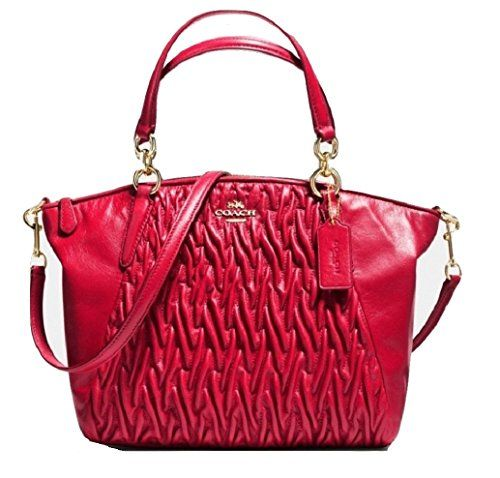 Women S Top Handle Handbags Coach Gathered Twist Leather Small Kelsey Handbag In Classic Red F37081 Check Out The Image By Visiting Link