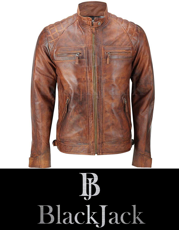Mens Real Leather Washed Brown Black Vintage Zipped Smart Casual Biker Jacket