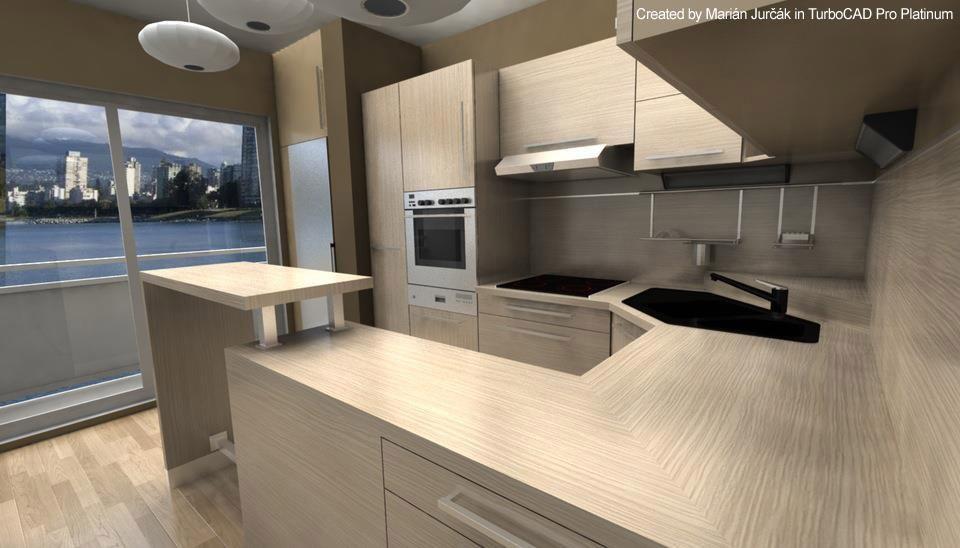 modern kitchen design rendering created by mari n jur k using turbocad pro platinum cad. Black Bedroom Furniture Sets. Home Design Ideas