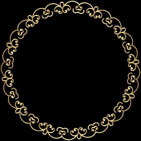 Round Gold Border Frame Png Clip Art Image Pattern Design Drawing Hair Logo Design Gold Frame