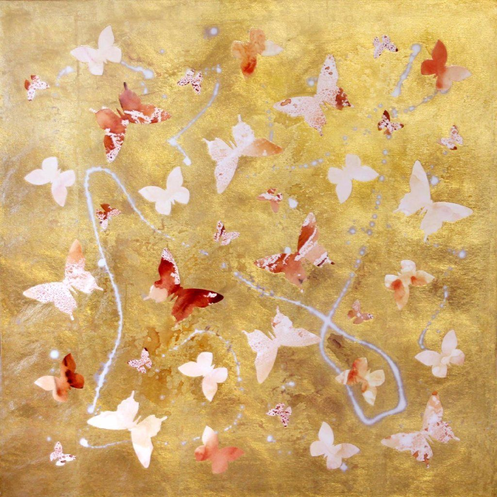 Golden Dream (gold leaf, high gloss) | Butterfly wall, Wall art ...