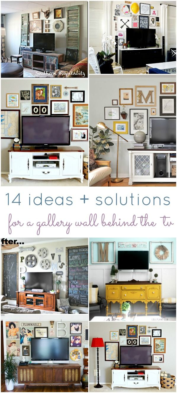 14 Ideas and Solutions for a Gallery Wall Behind the TV | Pinterest ...
