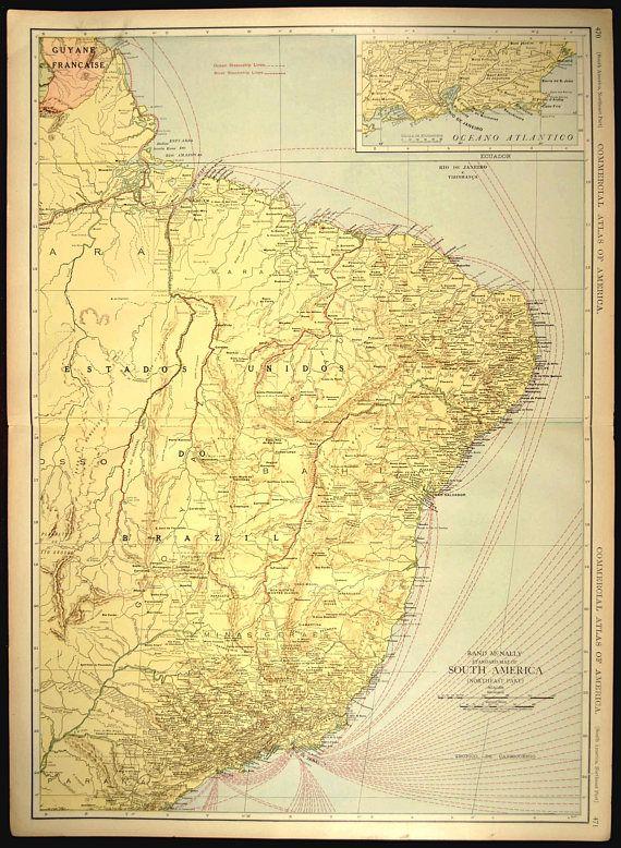 Brazil Map EXTRA LARGE Rio De Janeiro Vicinity Map Wall Art   Map ...