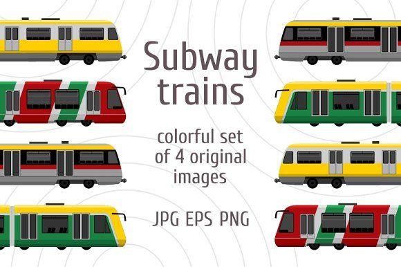 Modern High Speed City Subway Trains Subway Train Train Vector Train