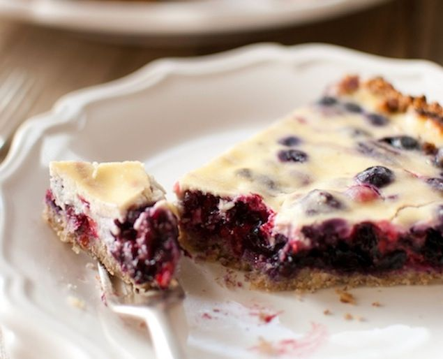 This tart is not too sweet, but full of natural goodness of the berries and the walnuts. The flavors pare nicely with the walnuts and the soft berry filling.