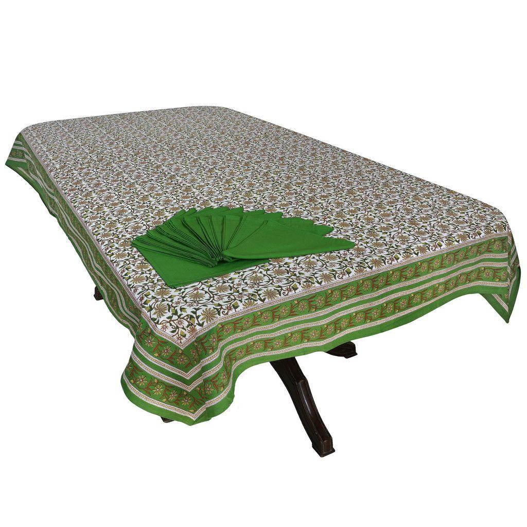 Floral Decor Indian Tablecloth 60X108 Inch 12 Napkins Set Cotton Colorful Print