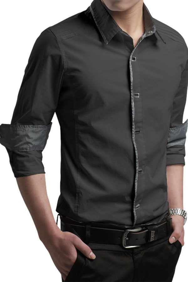 bc8a597b7 Button-Down Front Modern Slim Fit Army Grey Mens Shirt More
