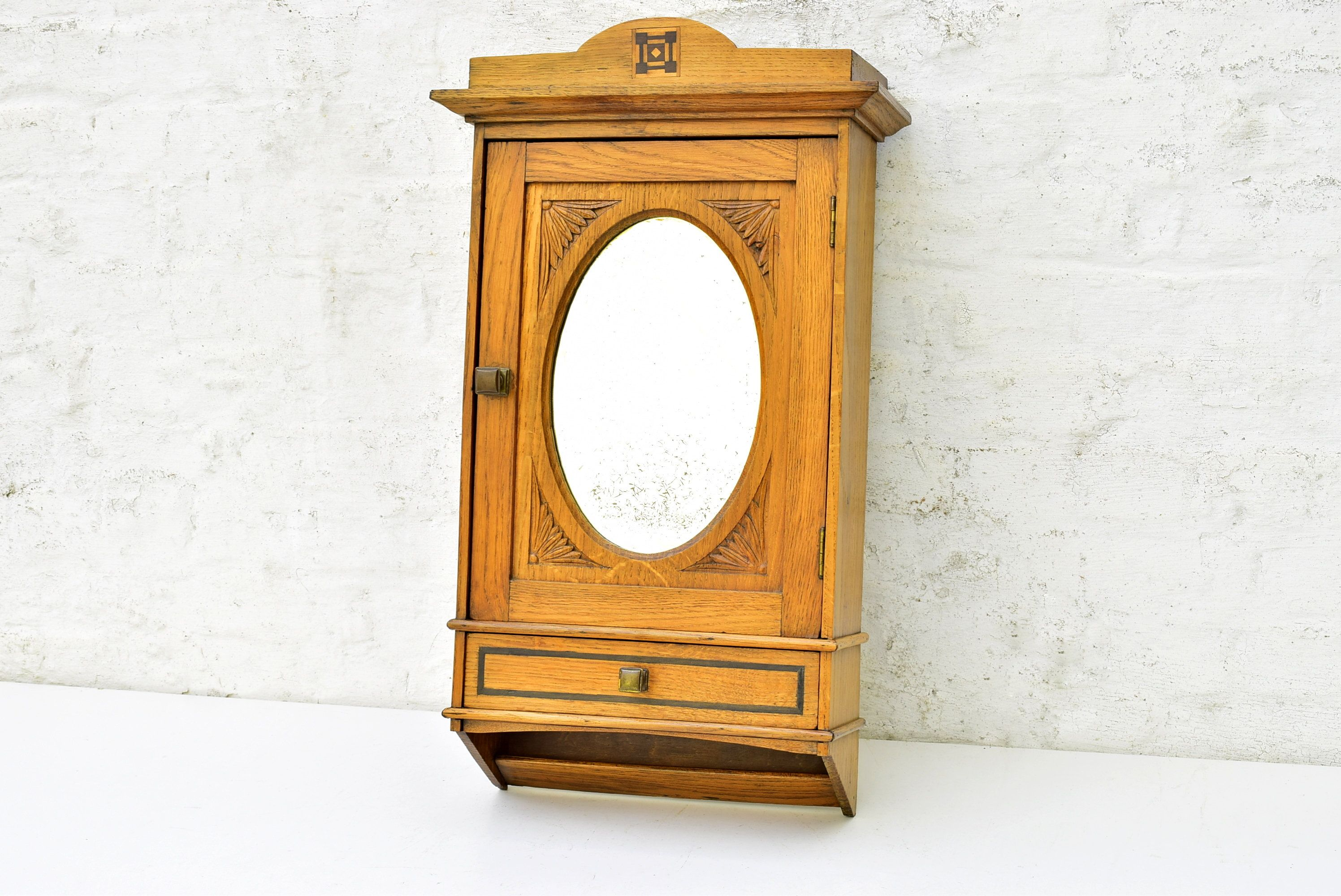 Antique Bathroom Wall Cabinet Vintage Cupboard Storage Cabinet In Oak Wood With Marquetry And Oval Beveled Mirror Antique Furniture 1930s Vintage Cupboard Bathroom Wall Cabinets Cupboard Storage