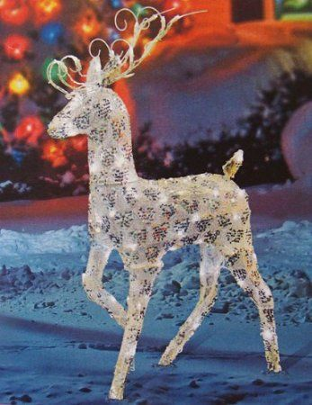 48 Gold And Silver Buck Reindeer Lighted Led Christmas Yard Art Decoration Christmas Yard Art Christmas Decorations Diy Outdoor Christmas Reindeer Decorations
