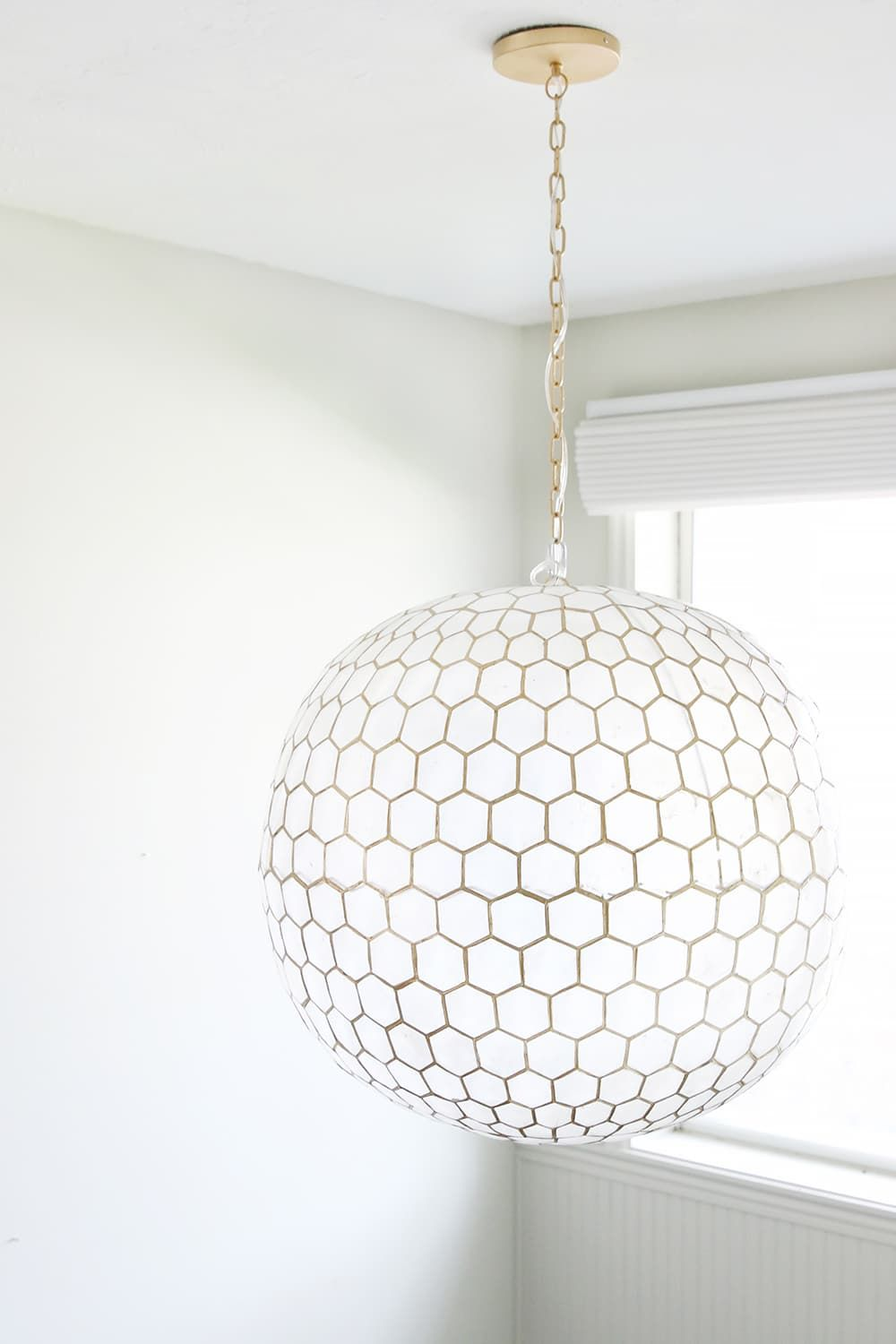 A Honeycomb Capiz Globe Light For The Stairwell Stairwell Light